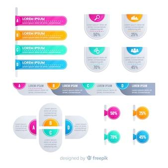 Éléments d'infographie dégradé plat coloré