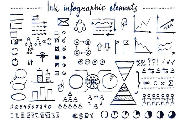 Éléments d'infographie dessinés à la main avec un stylo à encre diagrammes de flèches de symboles commerciaux