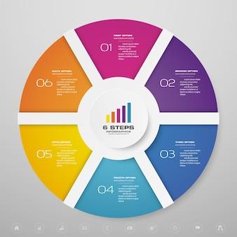 Éléments d'infographie de diagramme de cycle de 6 étapes pour la présentation de données.
