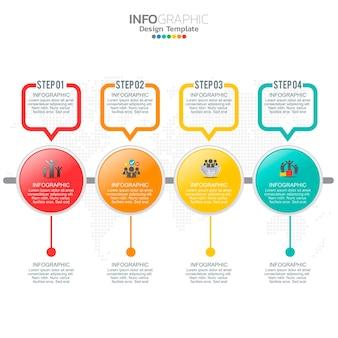 Éléments d'infographie d'entreprise avec 4 options ou étapes.