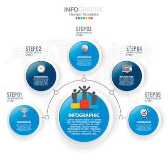 Éléments d'infographie d'entreprise avec 5 options ou thème bleu étapes.