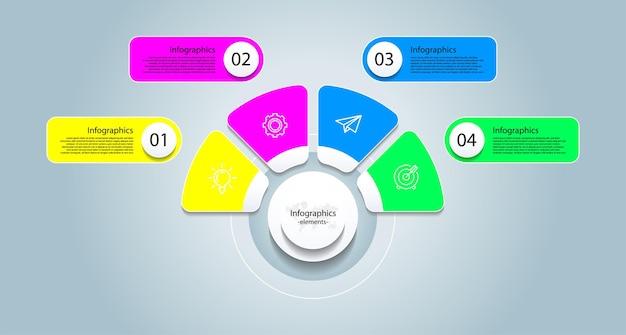 Éléments d'infographie d'entreprise de présentation colorés avec quatre étapes