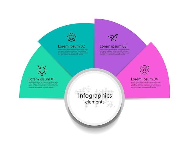 Éléments d'infographie d'entreprise de présentation avec quatre étapes