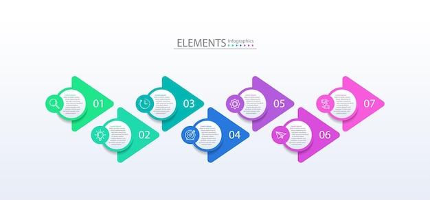 Éléments d'infographie d'entreprise de présentation avec sept étapes