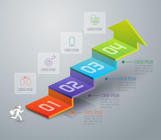 Éléments d'infographie d'escalier d'affaires de 4 étapes
