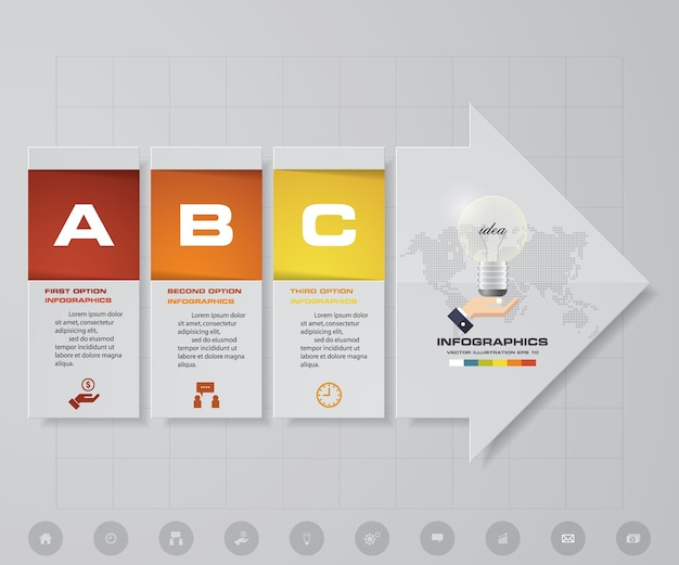 Éléments d'infographie de flèche de 3 étapes pour la présentation de données.