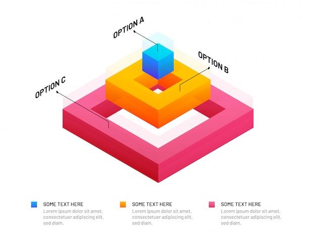 Éléments d'infographie de forme carrée colorée