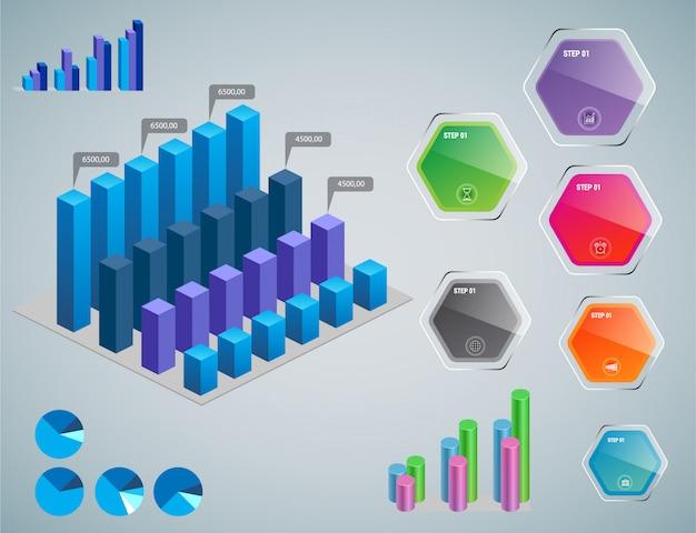 Éléments d'infographie - graphiques à barres et à courbes, infographie de personnes