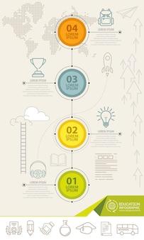 Éléments d'infographie avec des icônes de l'éducation