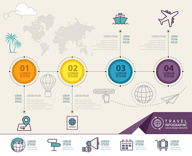 Éléments d'infographie avec des icônes de voyage
