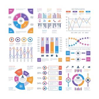Éléments d'infographie. infographie de flux, chronologie du diagramme de processus, graphique d'organisation du diagramme d'étapes. ensemble de vecteurs de présentation infographique