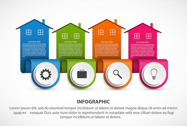 Éléments d'infographie avec des maisons colorées