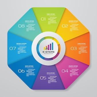 Éléments d'infographie moderne cercle graphique 8 étapes.