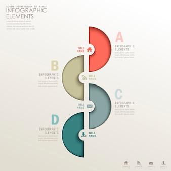 Éléments d'infographie papier 3d abstrait réaliste