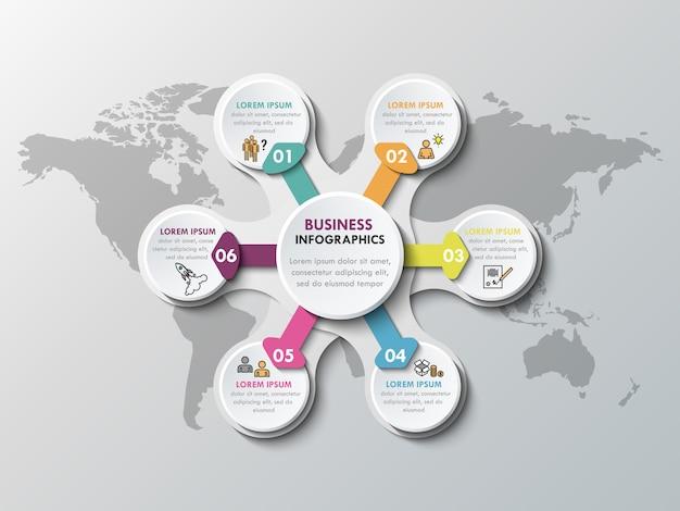 Éléments d'infographie en papier 3d pour six options. infographie de metaball