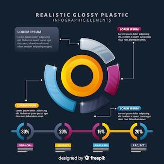 Éléments d'infographie en plastique brillant glacé réaliste d'affaires infogrealistic