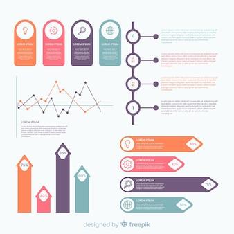 Éléments d'infographie plats avec la collecte de statistiques