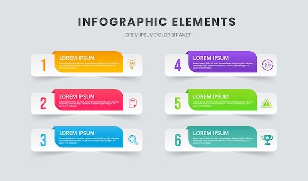 Éléments d'infographie de présentation d'entreprise avec 6 options