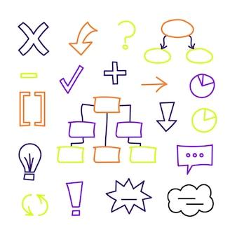 Éléments d'infographie scolaire dans des marqueurs colorés