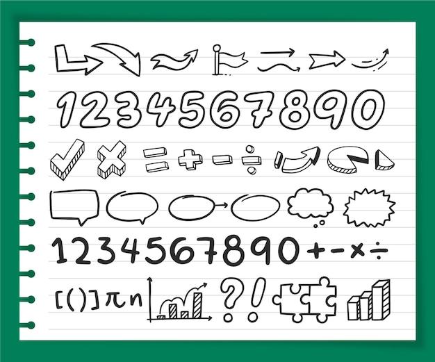 Éléments d'infographie scolaire dessinés à la main