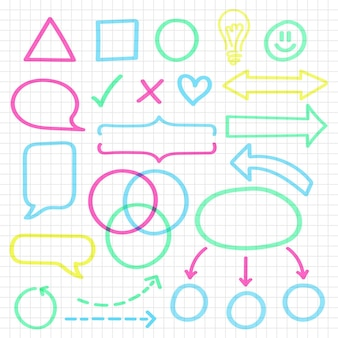Éléments d'infographie scolaire avec des marqueurs colorés