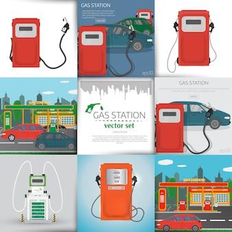 Éléments d'infographie de station-service et arrière-plans