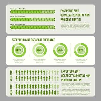 Éléments d'infographie de thème vert