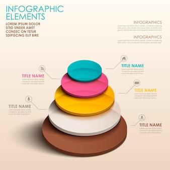 Éléments d'infographie de tour de couleur 3d abstrait réaliste