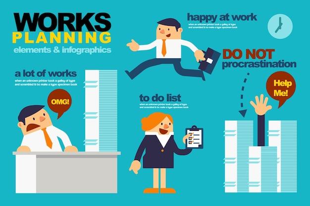 Éléments et infographies pour la planification du travail des gens d'affaires