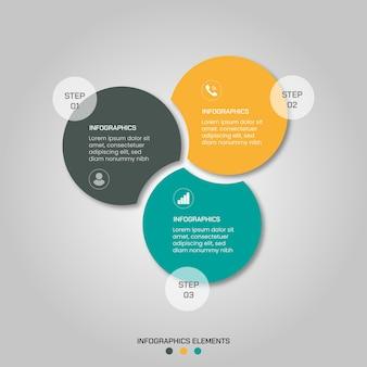 Éléments infographiques en 3 étapes avec des formes compactes rondes