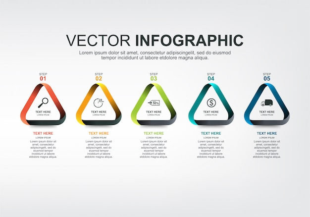 Éléments infographiques avec 5 options