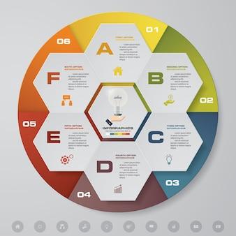 Éléments infographiques de 6 camembert moderne en 6 étapes.