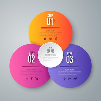 Éléments infographiques d'affaires de 3 étapes pour la présentation
