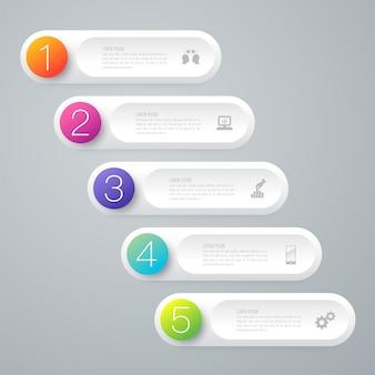 Éléments infographiques d'affaires de 5 étapes pour la présentation