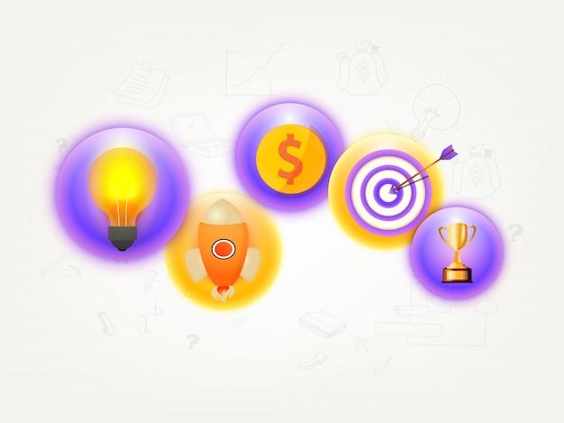Des éléments infographiques brillants créatifs comme ampoules, la fusée à lancer, le symbole du dollar, la cible et le trophée d'or pour le concept d'entreprise.