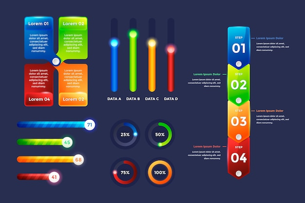 Éléments infographiques brillants réalistes