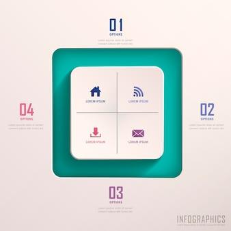 Éléments infographiques carrés 3d abstraits réalistes