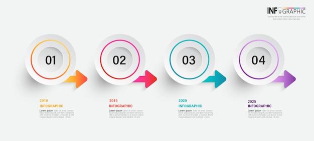 Éléments infographiques de cercle avec 4 étapes