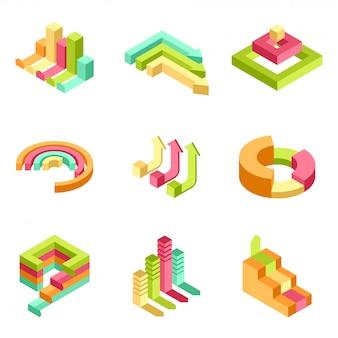 Éléments infographiques colorés 3d définies pour le concept d'entreprise.