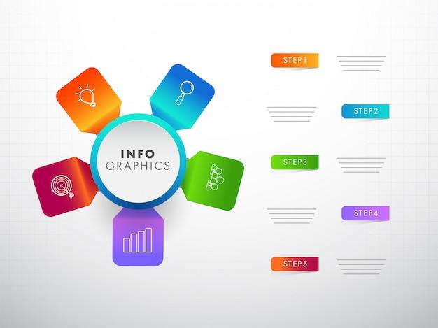 Éléments infographiques colorés avec cinq étapes différentes pour corp