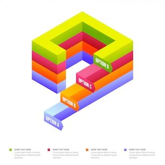 Éléments infographiques colorés isométriques