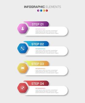 Éléments infographiques commerciaux en 4 étapes avec plusieurs formes de couleurs dégradées