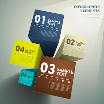 Éléments infographiques de cube 3d abstrait réaliste