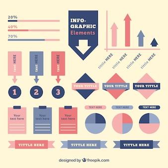 Éléments infographiques dans des couleurs pastel