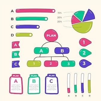 Éléments infographiques dessinés à la main