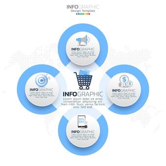 Éléments infographiques du cercle d'affaires avec 4 options ou étapes.