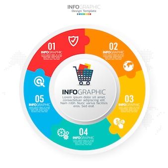 Éléments infographiques du cercle d'affaires avec 5 options ou étapes.