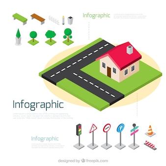 Éléments infographiques fantastiques dans la conception isométrique