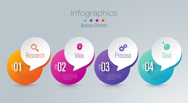Éléments infographiques de gestion en 4 étapes pour la présentation