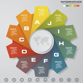 Éléments infographiques graphique 10 étapes
